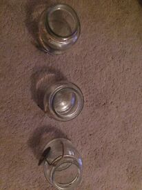 3 x Small glass jar/vases with twine and slate trim