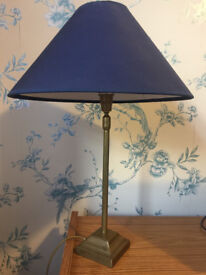 Brass lamp with blue shade