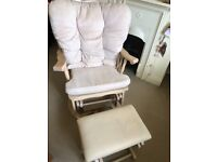 Rocking/turning nursing chair, with footstool.