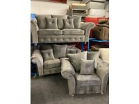 NEW - EX DISPLAY GERY / SILVER VELVET CHENILLE 3 + 2 + 1 SEATER SOFAS / SOFA 70% Off RRP SA