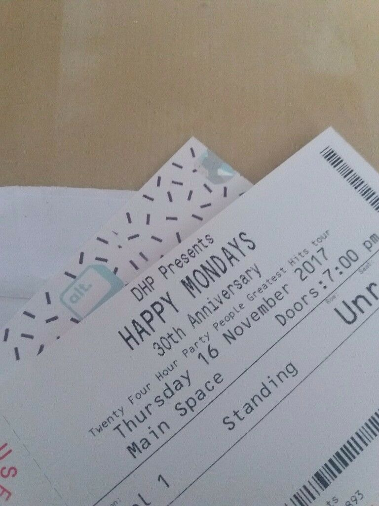 8 tickets for Happy Mondays Roundhouse London Thurs 16th Nov - £25 each, £10 below face value