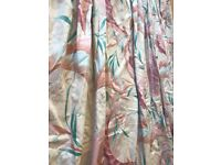Beautiful Gold, Rose, Peach & Jade Curtains With Tie Backs, Satin Cotton, Fully Lined