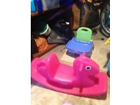 Children's rocking horse and chair