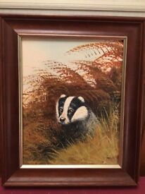 Painting of badger by Mike Nance.