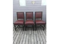 Three Vintage Victorian Arts And Crafts Leather Chairs with carved detail