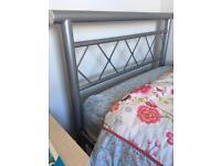 Single silver metal bed frame