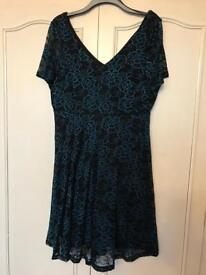 New - beautiful black and teal lace dress size 18