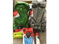 Osprey Rucksacks & accessories. Atmos 50AG & Aura 50AG. All new with tags,