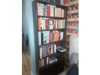 Two 5 shelf book shelves in dark wood