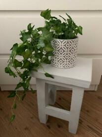 Little grey solid wooden stool / plant stand / bedside stand / small table