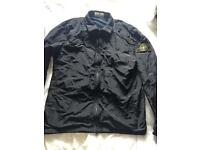 Navy stone island zip through overshirt