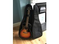 Vintage Sunburst acoustic guitar, case, capo and beginner song books