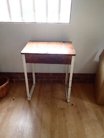 Old school desk - wooden, trendy, retro with flip lid for storage
