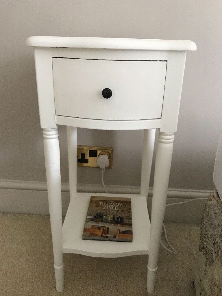 Pair Of Small White Bedside Tables Some Paint Peeling