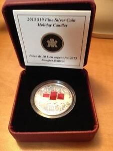 2013 Holiday Candle $10 Silver Enameled Coin