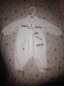 Baby Pramsuit Sleepsuit Boys Girls Unisex 0-6m