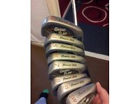 Full set of powerbolt golf irons, putter, driver, bag and brolly!