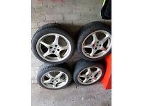 """Set of 4x100 16"""" 5 spoke alloy wheels."""