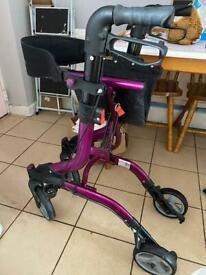Purple mobility walker/rollator