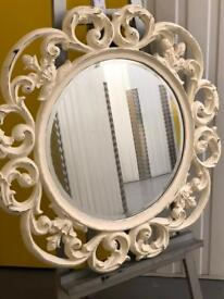 LARGE ORNATE ROUND WALL MIRROR