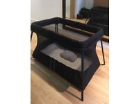 Baby Björn Travel Cot light in black, used only on one vacation, Excellent Condition!