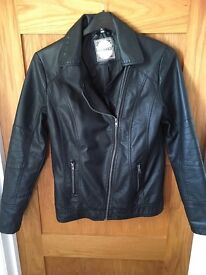 Leather Look faux leather teens jacket. Age 14-15 very good condition.