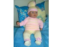 NEW HAND KNIT CLOTHES TO FIT BABY ANNABELL /BABY BORN NICE GIFT