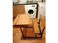 CHILD'S VINTAGE OLD SCHOOL STYLE 2 SEATER DESK AND CHAIR COMBINATION