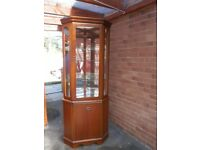 McDonagh Living room Corner unit two doors glass and mirror shelves very good condition