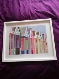 Summer Beach Huts Framed Art