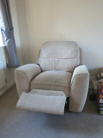Beige sofa and recliner set