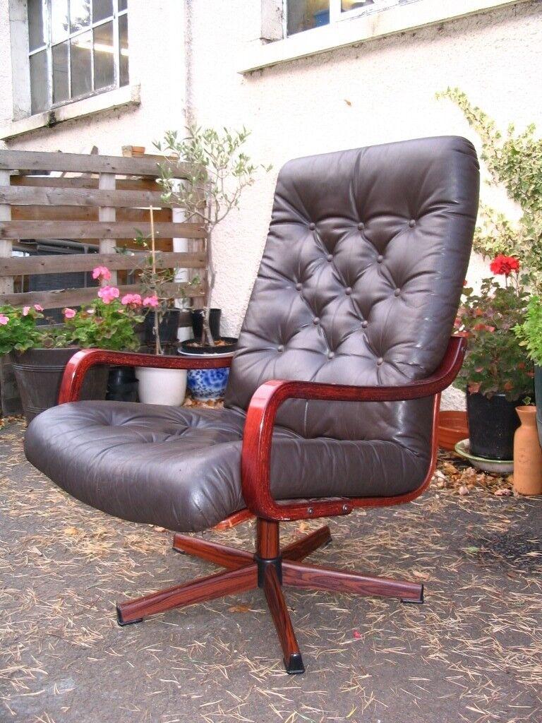 Scandinavian/Danish/Swedish leather swivel lounge chair ...