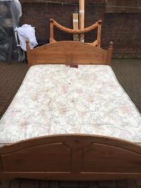 Solid pine king size bed with top quality mattress