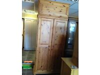Large pine wardrobe with top box