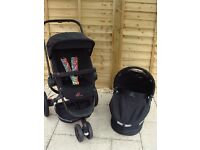 Quinny Buzz Limited Edition all black frame and wheels pushchair carrycot