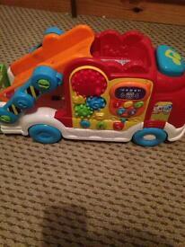 V tech Toot Toot garage, transporter & 2 cars