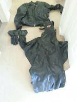 mens leather jacket harley Davidson chap and gloves