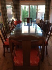 solid cherry wood dining table set