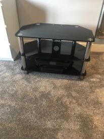 Black and sliver glass tv stand