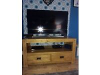 Oak TV cabinet and matching bookcase