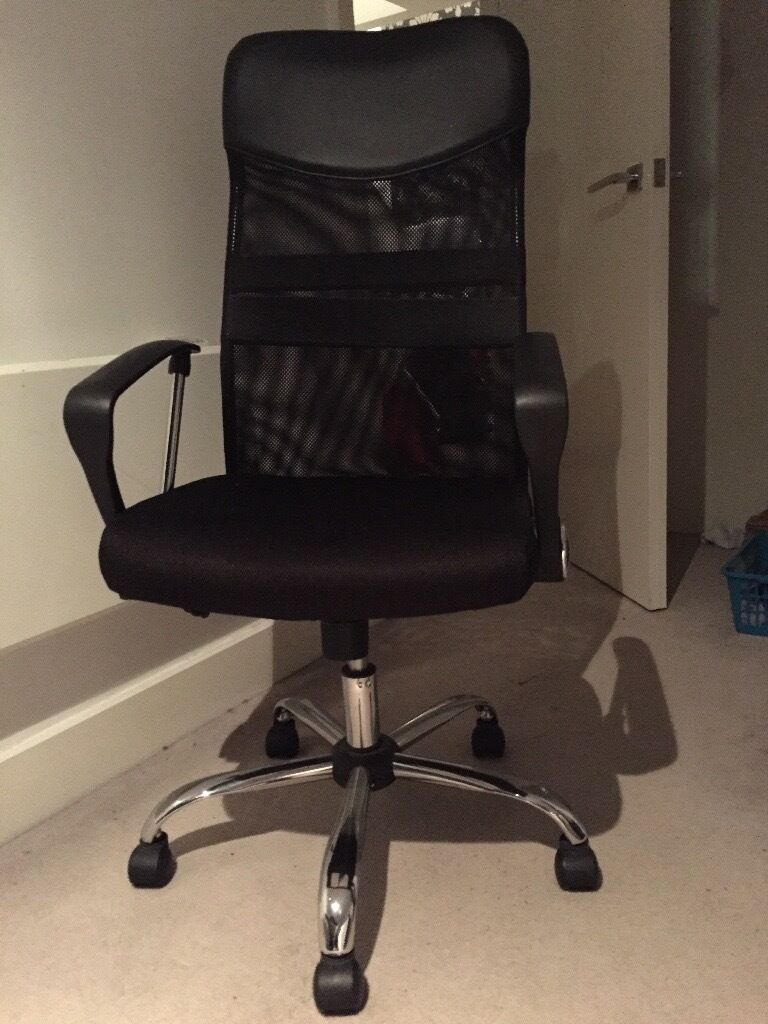 Mesh Leather Effect Headrest Adjustable Office Chair Black Used