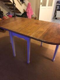 Vintage solid wood drop sides table