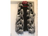 BARGAIN * HOUSE CLEARANCE * NEXT vest black and white fur