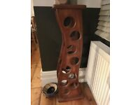 Hand crafted wooden wine rack: holds 9 bottles