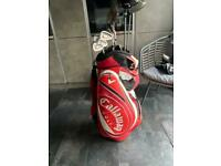 Golf clubs with trolley bag.
