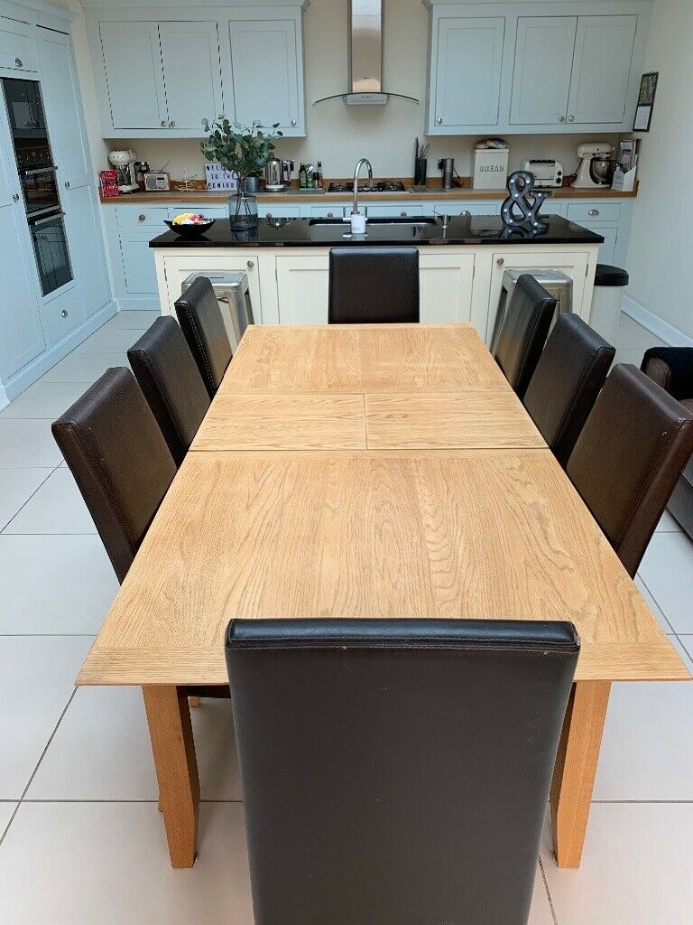 John Lewis extending dining table and 8 leather chairs ...