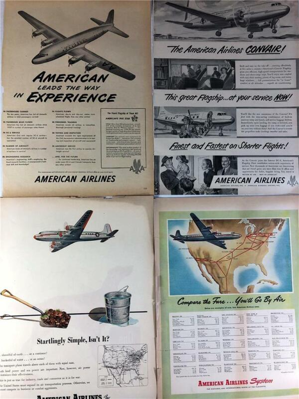 Vintage Lot Advertising (24) Print Ad American Airlines RARE Ads
