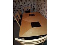 Harveys siena range Italian maple and ebony table chairs and sideboard