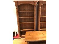 Pair of matching antique pine waxed bookcases in excellent condition with matching coffee table