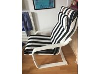 White Ikea Poang Rocking Armchair with Black & White Seat Pad